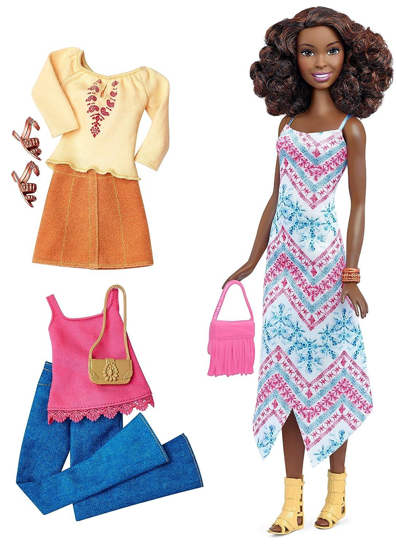 Mattel Barbie DTF08 Barbie Fashionistas Style Puppe und Moden mit Fransentasche