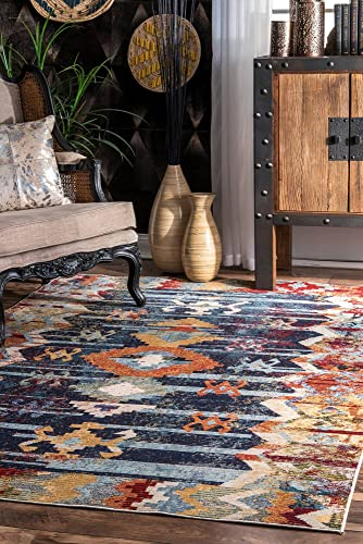 nuLOOM Osteen Vintage Abstract Area Rug, 4 x 6 , Navy