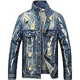 LUCKAMILEE Jean Jacket for Men,Ripped Loose Distressed Trucker Denim Jacket Coat