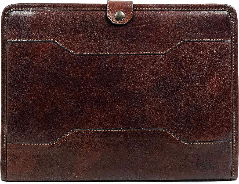 Leather Portfolio Organizer Folder 13 in Laptop Case Dark Brown – Time Resistance