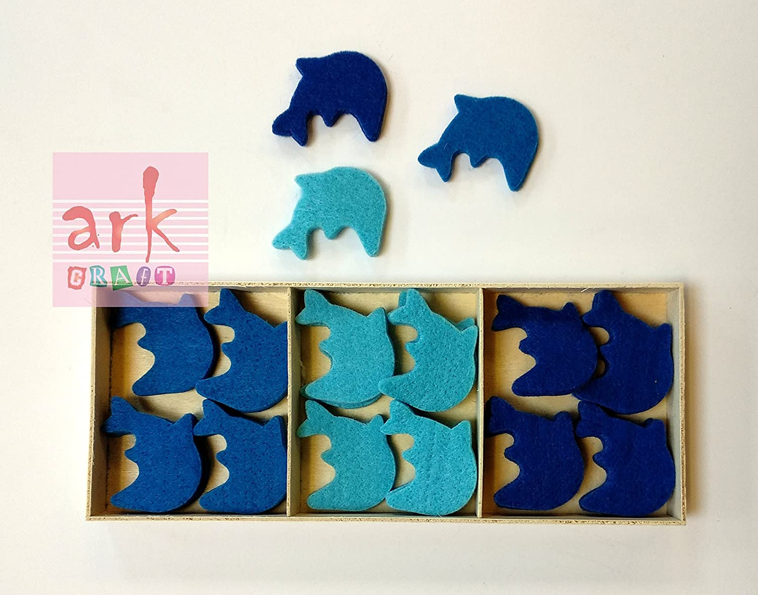 One Pack of 24 Foam Dolphin Shapes.