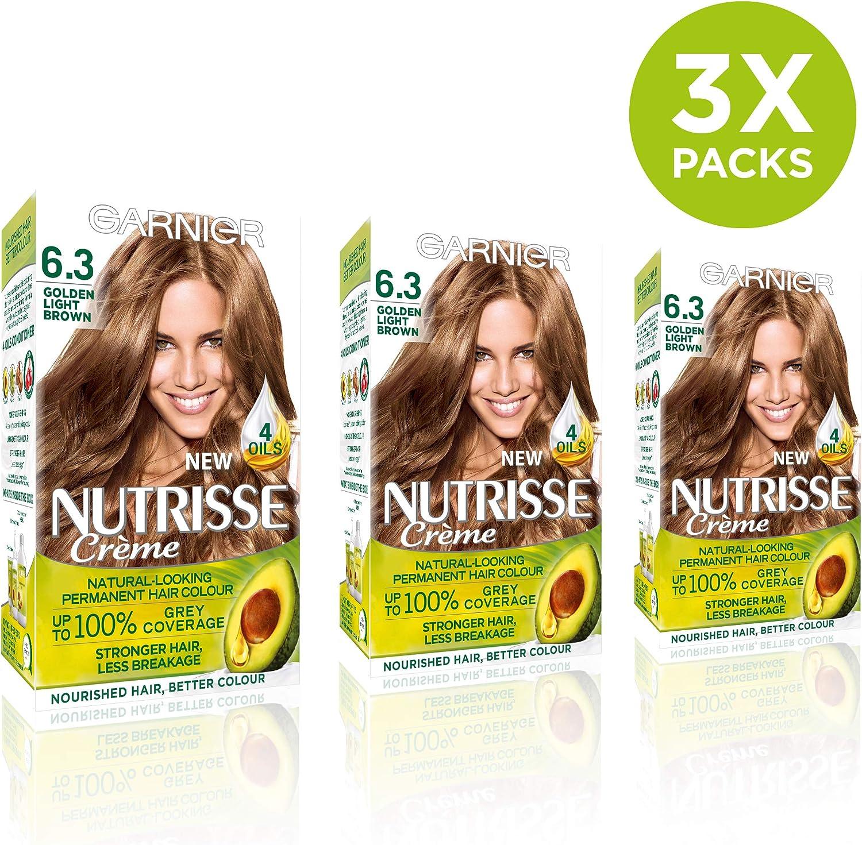 Garnier Nutrisse 6.3 tinte permanente para cabello marrón claro dorado – Paquete de 3