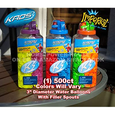 500 ct Water Bomb Balloon Kit with Filler Nozzle Colors Vary for Biodegradeable Bombs Balloons-one (1) container: Toys & Games