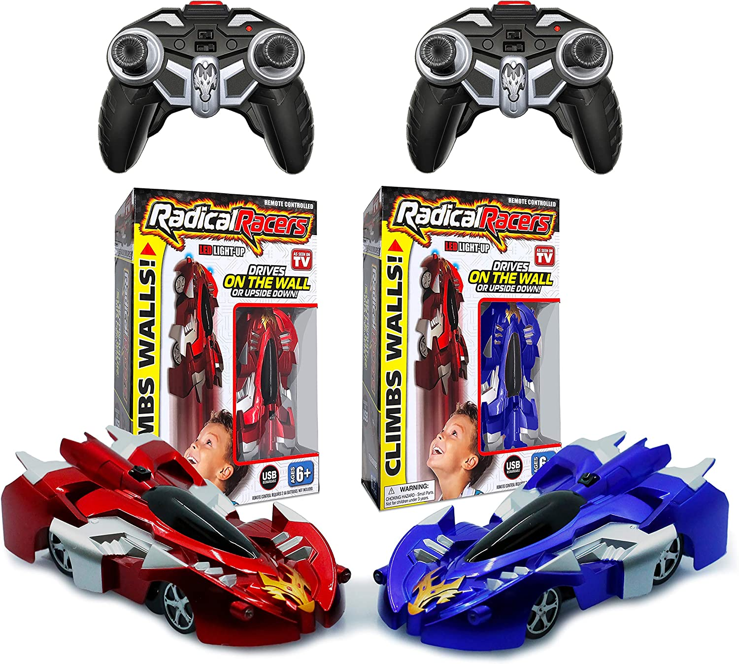 Radical Racers Wall Climbing Car Remote Controlled With 360 Degrees Turn Functionality For Multi Directional Play As Seen On Tv Red And Blue Amazon Ca Toys Games