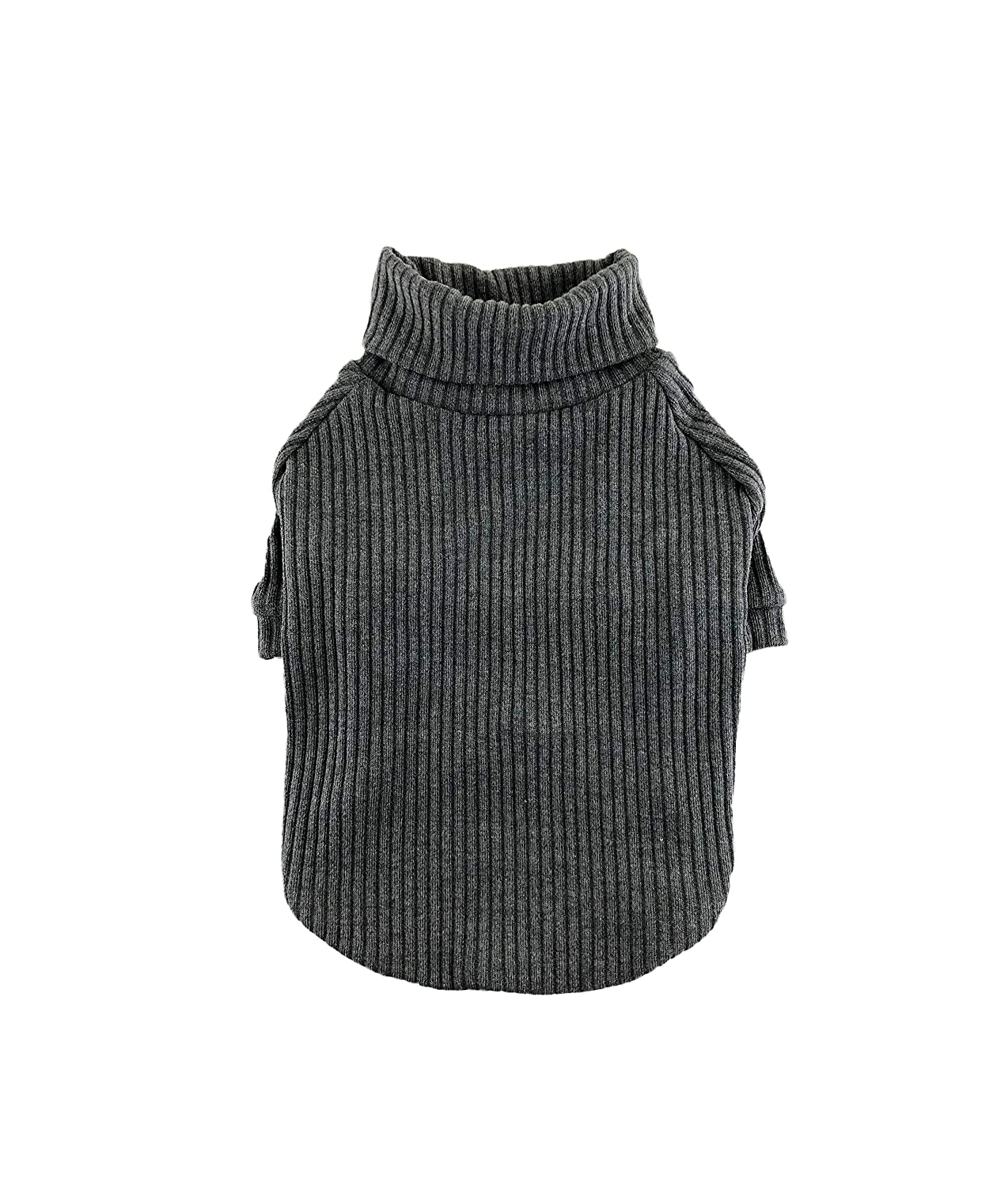 Dark Gray Rib Knit Turtleneck Top, Dog Sweater, Dog Clothing, Dog Fashion, Dog Apparel, XS-3XL