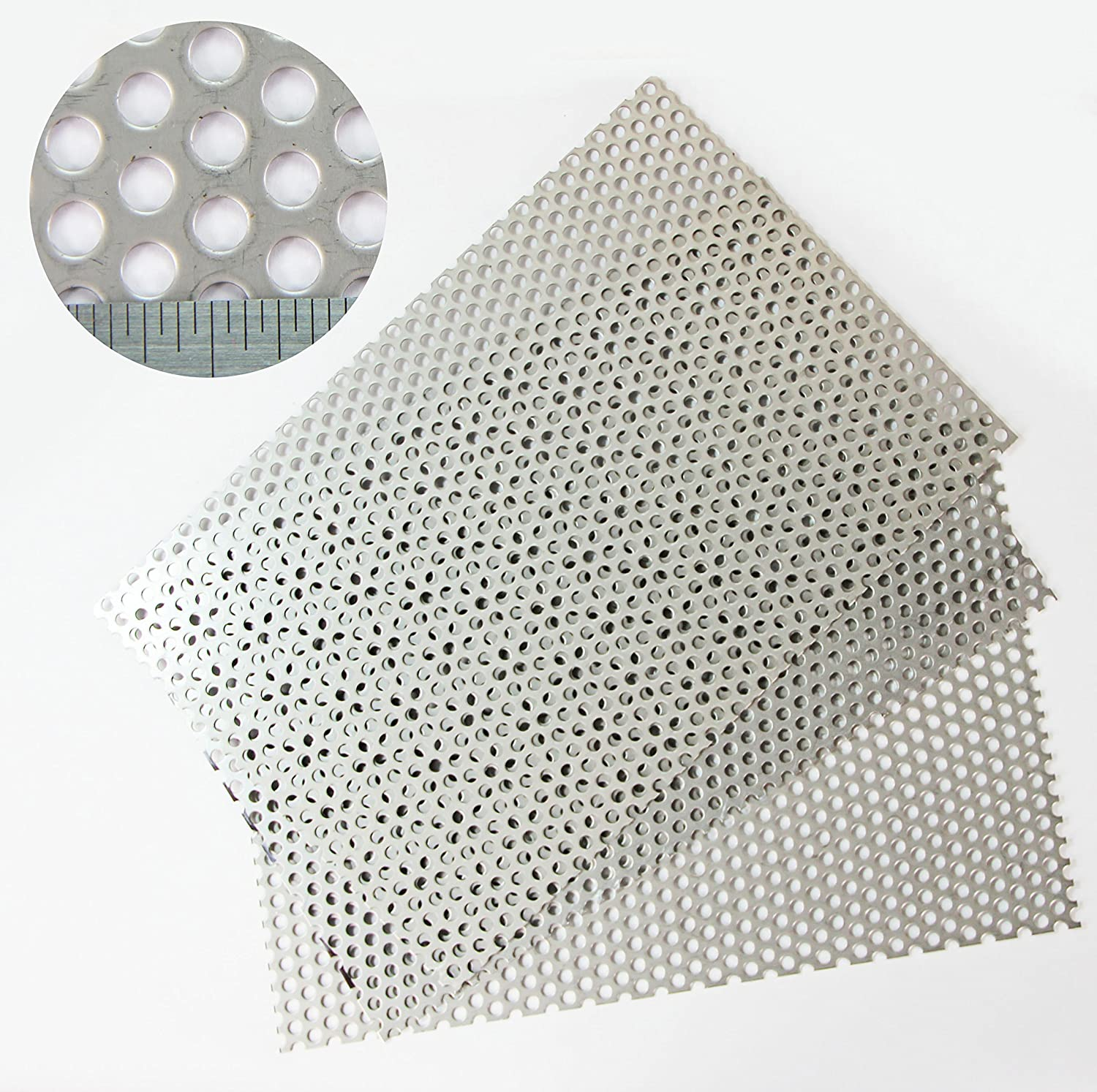 5mm Hole x 8mm Pitch x 1mm Thickness Round SS304 Perforated Mesh Sheet - 3 PACK = A4 Sheet (210 x 300mm) x 3 The Mesh Company