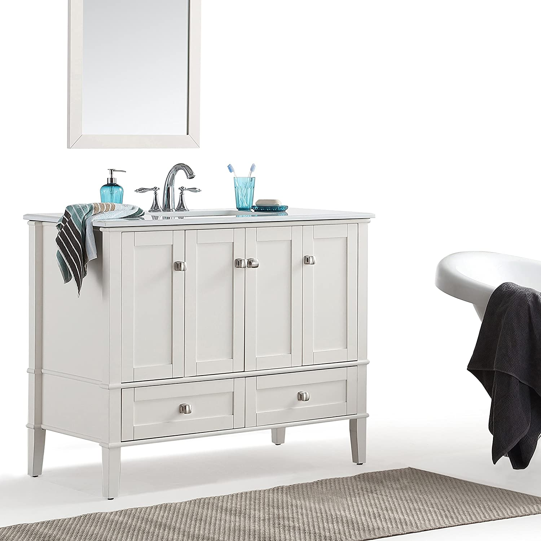 Simpli Home HHV029-42 Chelsea With White Quartz Marble Top 42\