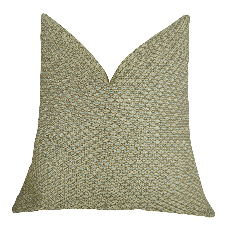 モダンなデザイナー幾何枕、トープAquaブルーDimondクッション、Designer Neutral幾何スロー枕 V....Double Sided 20