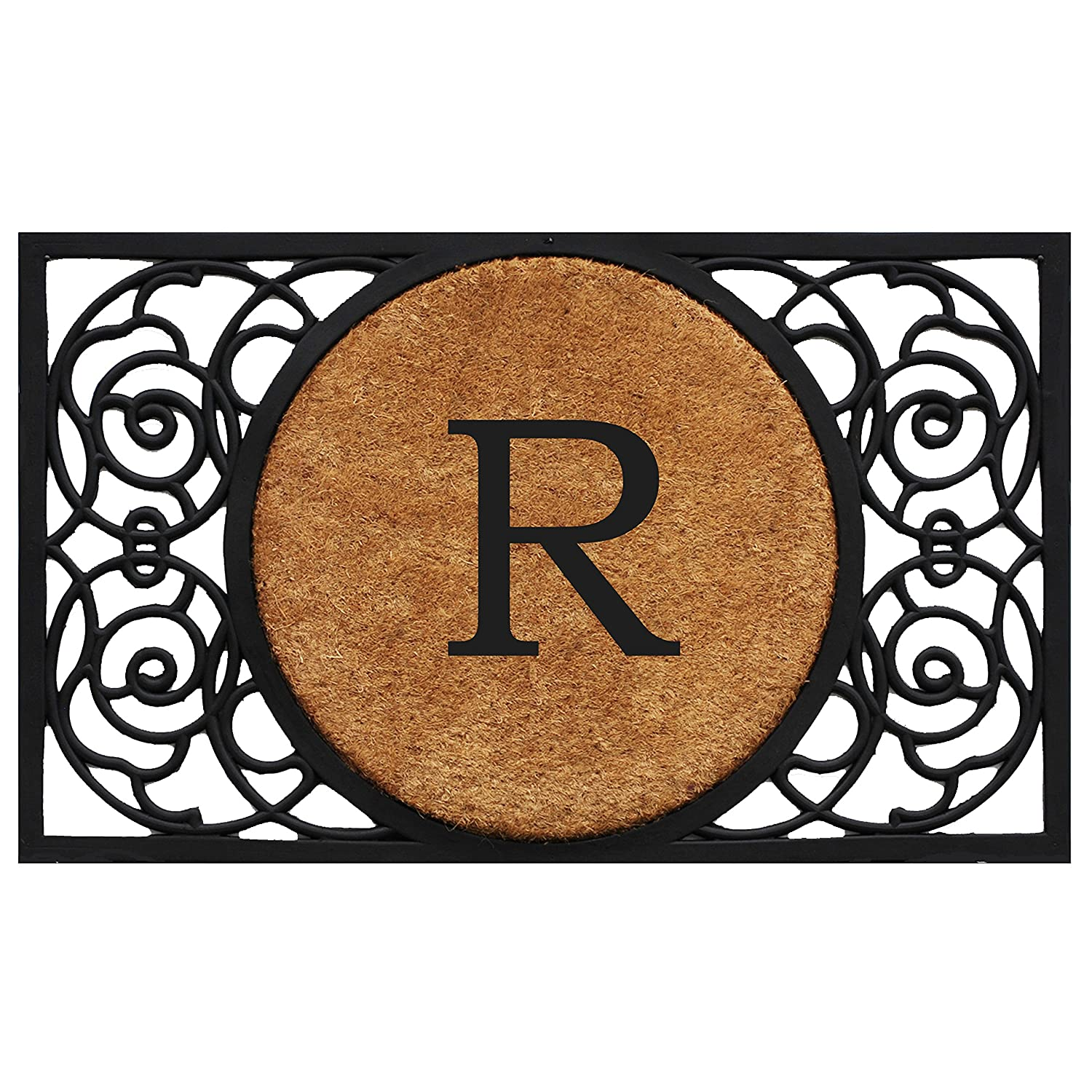 Black R Home & More 180032236G Armada Circle Monogram Doormat 22  X 36  (Letter G),