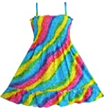 Sunny Fashion Girls Dress Rainbow Smocked Halter Size 6-6x