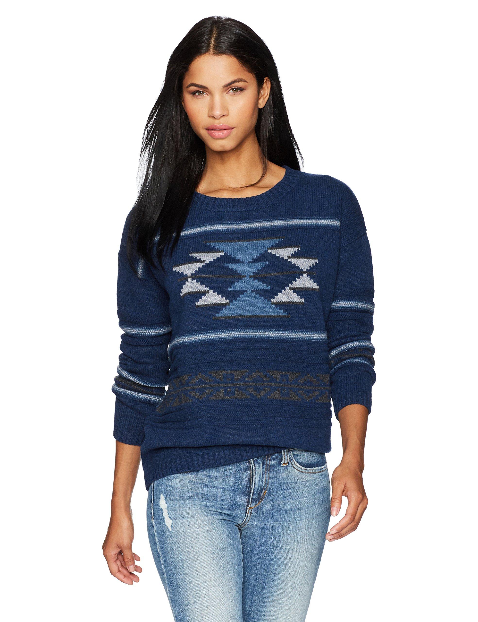 Pendleton Women's Graphic Crew Neck Lambswool Pullover Sweater, Navy Multi, SM