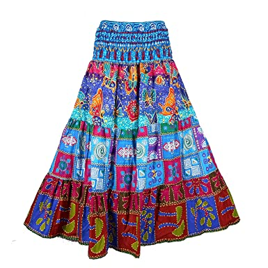 d96676ba3d BONYA Women's Hippie Boho Colorful Patchwork Smocked Stretch Waist Long  Skirt (Color11) at Amazon Women's Clothing store: