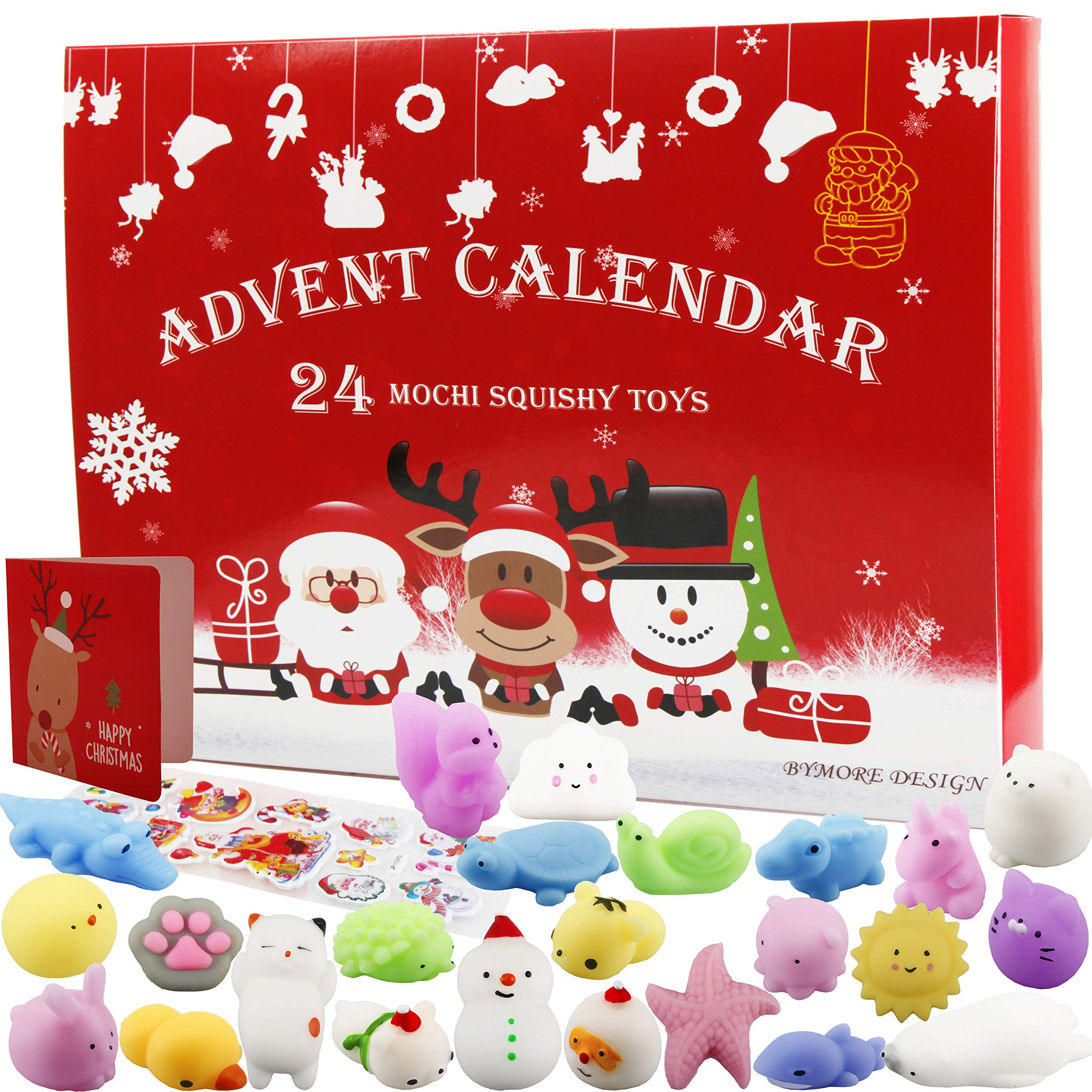 BYMORE 24 Pack Mochi Squishies Animals Advent Calender Mini Toys Stress Relief Squishies for Kids Adults 2019 Christmas Countdown Gifts by BYMORE