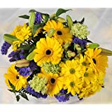 Fresh Flowers Delivered - Yellow Bright & Cheery Get Well Flower Bouquet - FREE UK Next Day Delivery Within 1hr Window 7 Days a Week - Send a Bunch of Lilies, Alstroemeria, Carnations, Gerberas and Chrysanthemums