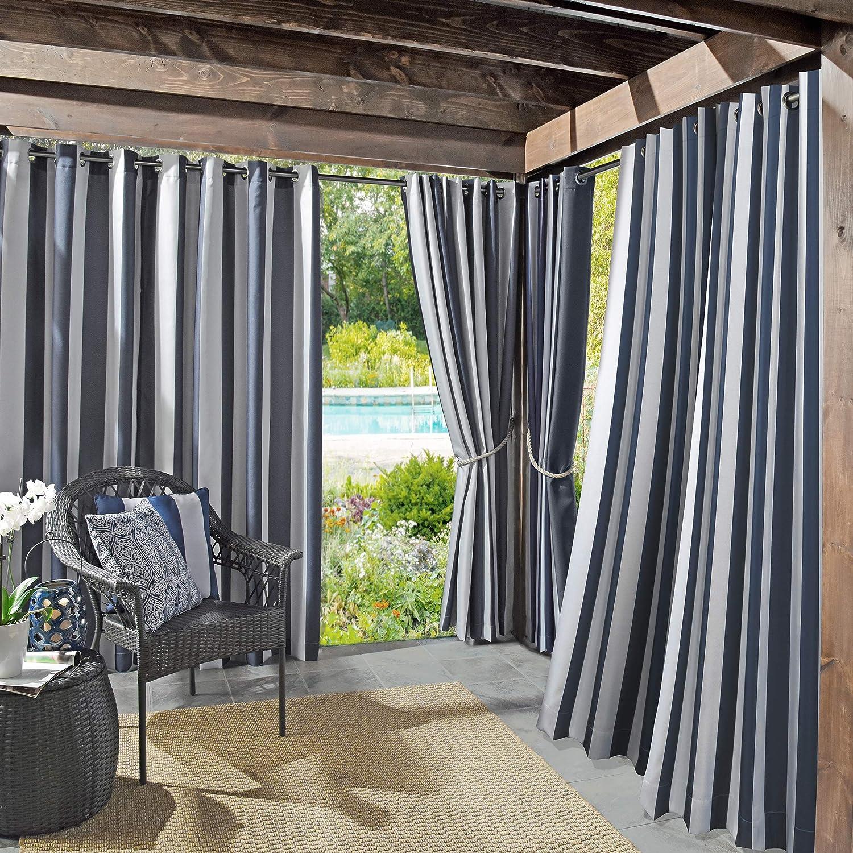 "Sun Zero Valencia UV Protectant Indoor Outdoor Curtain Panel, 54"" x 84"", Navy Blue"