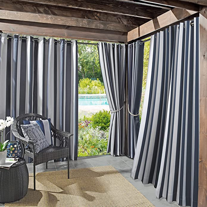 "84""x54"" Valencia Cabana Striped Indoor/Outdoor UV Protectant Grommet Top Room Darkening Curtain Panel Indigo - Sun Zero"
