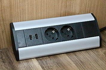 Eck-Steckdose 2x Schuko, 2x USB für Küche, Büro, Möbel. Steckdosenleiste  mit 1,8m Schuko Kabel. Mehrfachsteckdose ideal für ...