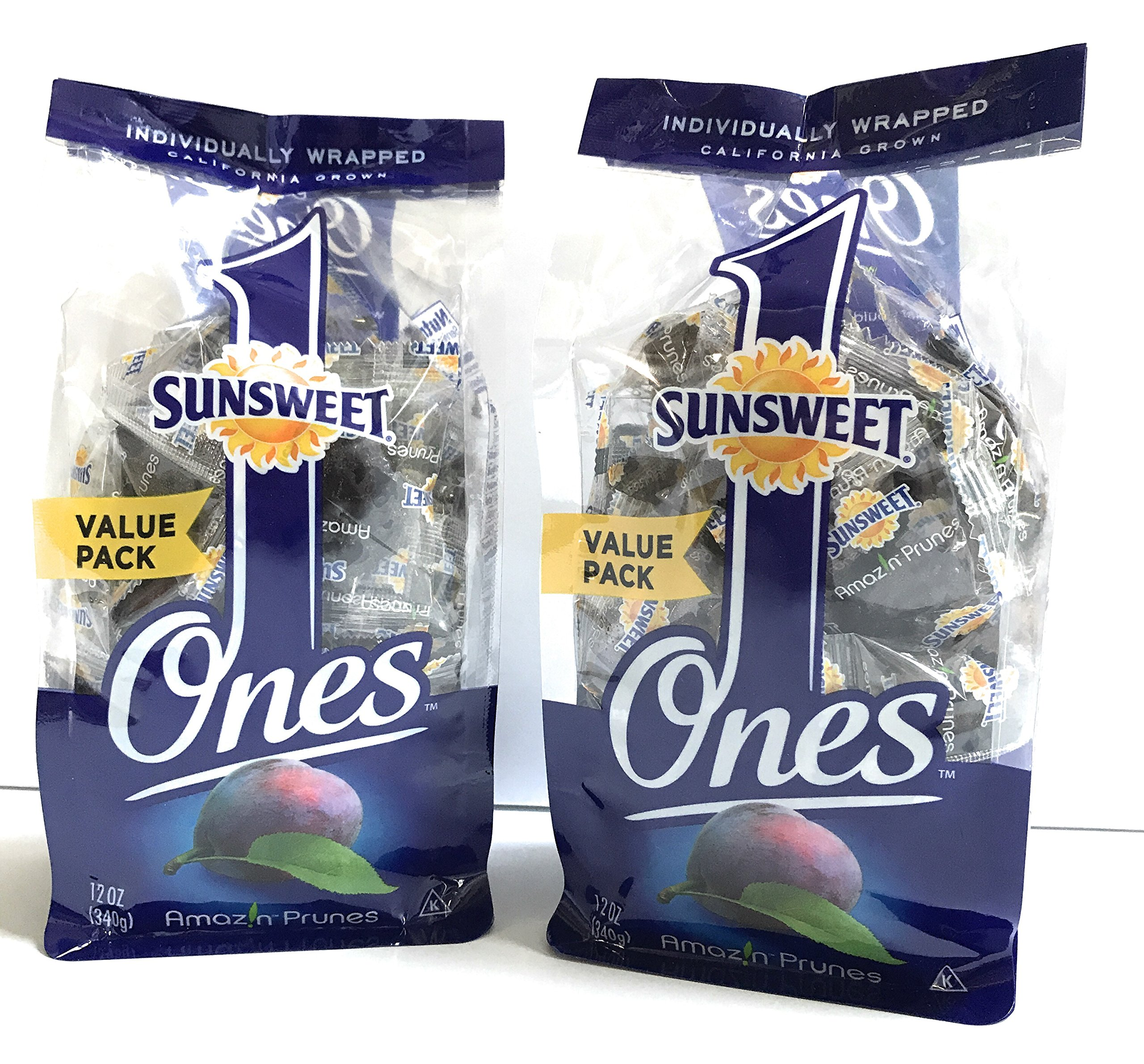 Sunsweet Individual Pitted Prunes Value Pack - 2 Packs (12 oz each) of Individually Wrapped Dried Prunes - Sweet, Delicious and a GREAT VALUE! by Sunsweet