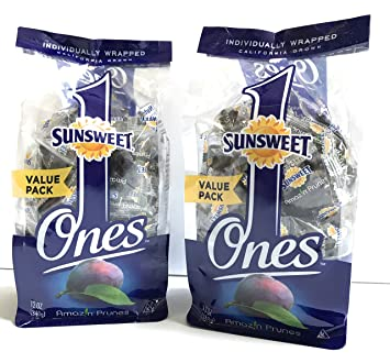 Sunsweet Individual Pitted Prunes Value Pack - 2 Packs (12 oz each) of Individually