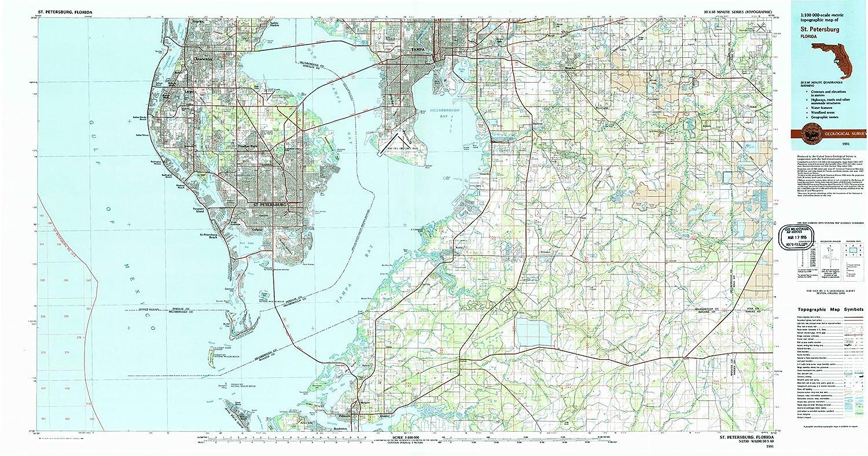 Florida Topographic Map.Amazon Com Yellowmaps St Petersburg Fl Topo Map 1 100000 Scale