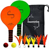 Jazzminton Deluxe LED 3 in 1 Paddle Ball Game - Indoor/Outdoor Game For Kids, Teens and Adults