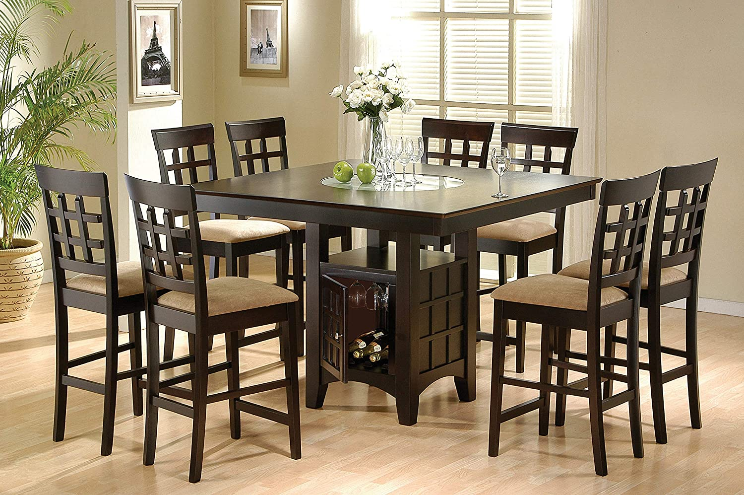 Coaster Home Furnishings Clanton 7-Piece Square Dining Counter Height Set, Table, Cappuccino and tan