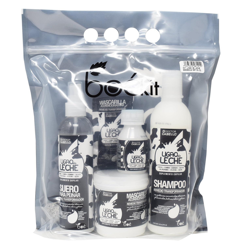 Kit de cuidado capilar Ligao de leche. Cuidado nutritivo del cabello rico en proteínas provenientes de la leche. Champú de 370 ml, acondicionador sin ...