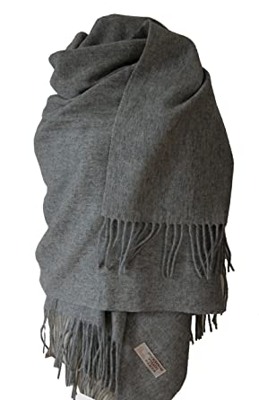 Echarpe étole chale en laine et cachemire grande épaisse et chaude (GRIS  ANTH. c74487a07f3