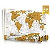 2er Pack - Weihnachtsaktion - NEU - Limited Edition 2016 in Geschenkrolle mit Metalldeckel - XXL Design Rubbel Weltkarte -Gold- mit 3D Relief-Optik (einzigartiges Berg und Ozean Relief) - Original Wenschow seit 1918