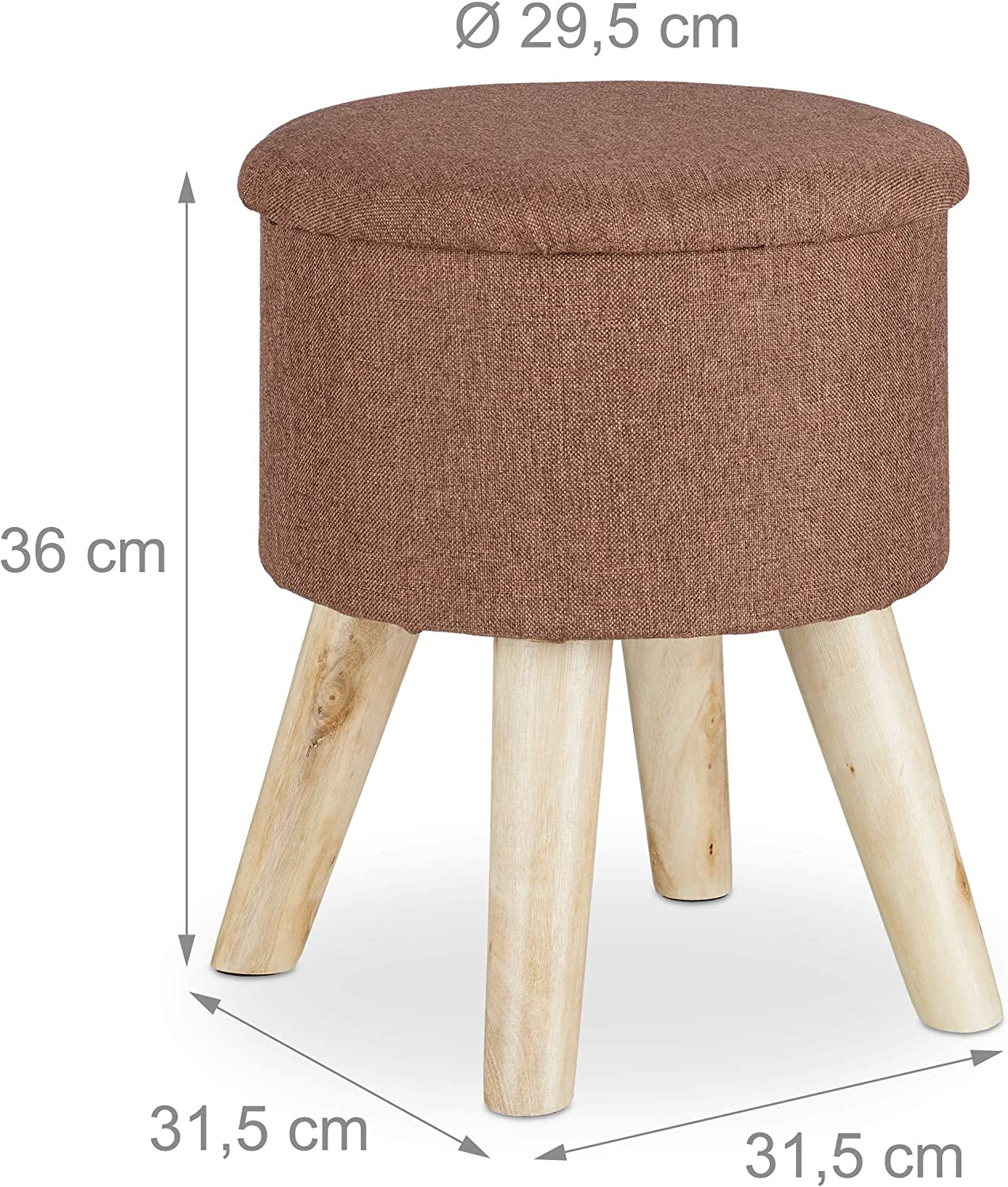 Relaxdays Round Stool with Storage Space, Padded, Removable Lid, Wooden Legs, HxWxD: 36 x 31.5 x 31.5 cm, White, Wood, One Size Brown
