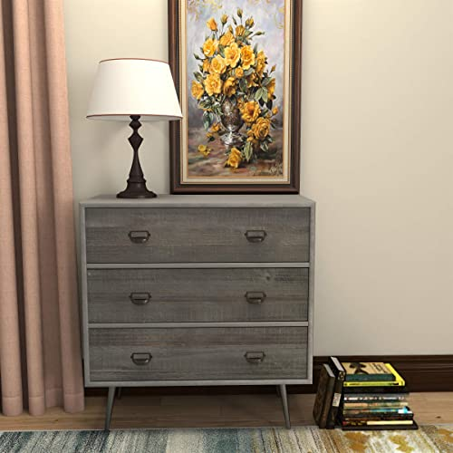 Full-Assembled 3 Drawer Accent Chest Modern Clean-Lined Silhouette, Rustic Farmhouse Style, Grey