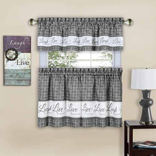 PowerSellerUSA Country Gingham Check Live Laugh Love 3-Piece Cafe Plaid Kitchen Curtain Set