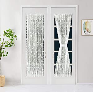LinenZone - French Door Panels Curtains Floral Design - Semi Sheer Top and Bottom 2.5 inches Pole Pockets with Scalloped Siding - Set of Two Curtains with Two Tie Backs (2 Panels 52 X 72, Ivory)