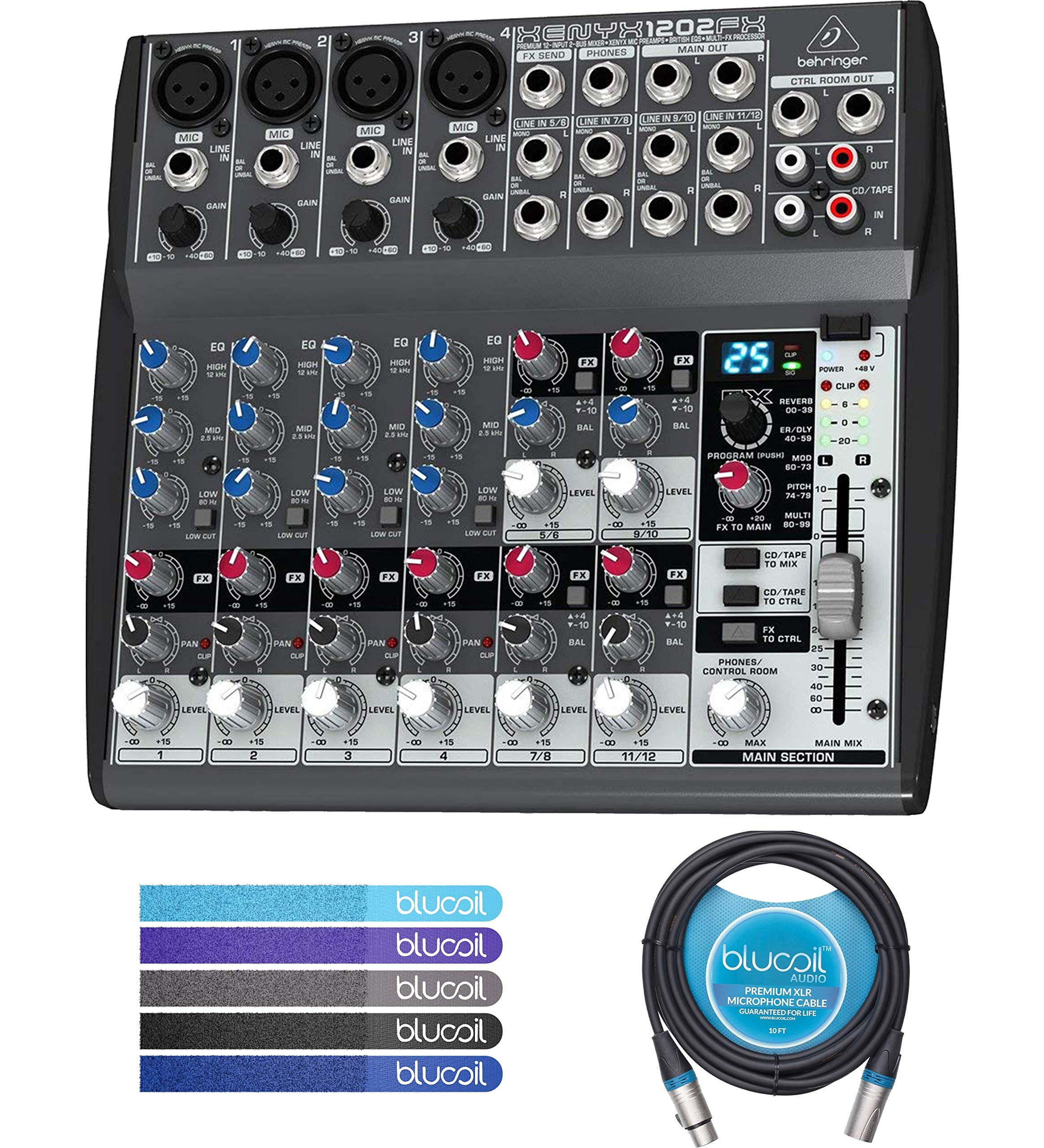 Behringer XENYX 1202FX 12-Input 2-Bus Analog Mixer Bundle with Blucoil Audio 10' Balanced XLR Cable and 5 Pack of Reusable Cable Ties