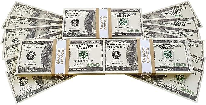 BILLETES DE DOLAR AMERICANOS FALSOS 30 000 IMPRESOS AL ESTILO ANTIGUO FAJO DE BILLETES DE 100 DÓLARES NUEVO Para Pistola de Dinero Cañón de Billetes Película Juguete Falso Dinero Billetes Casino: Amazon.es: Hogar