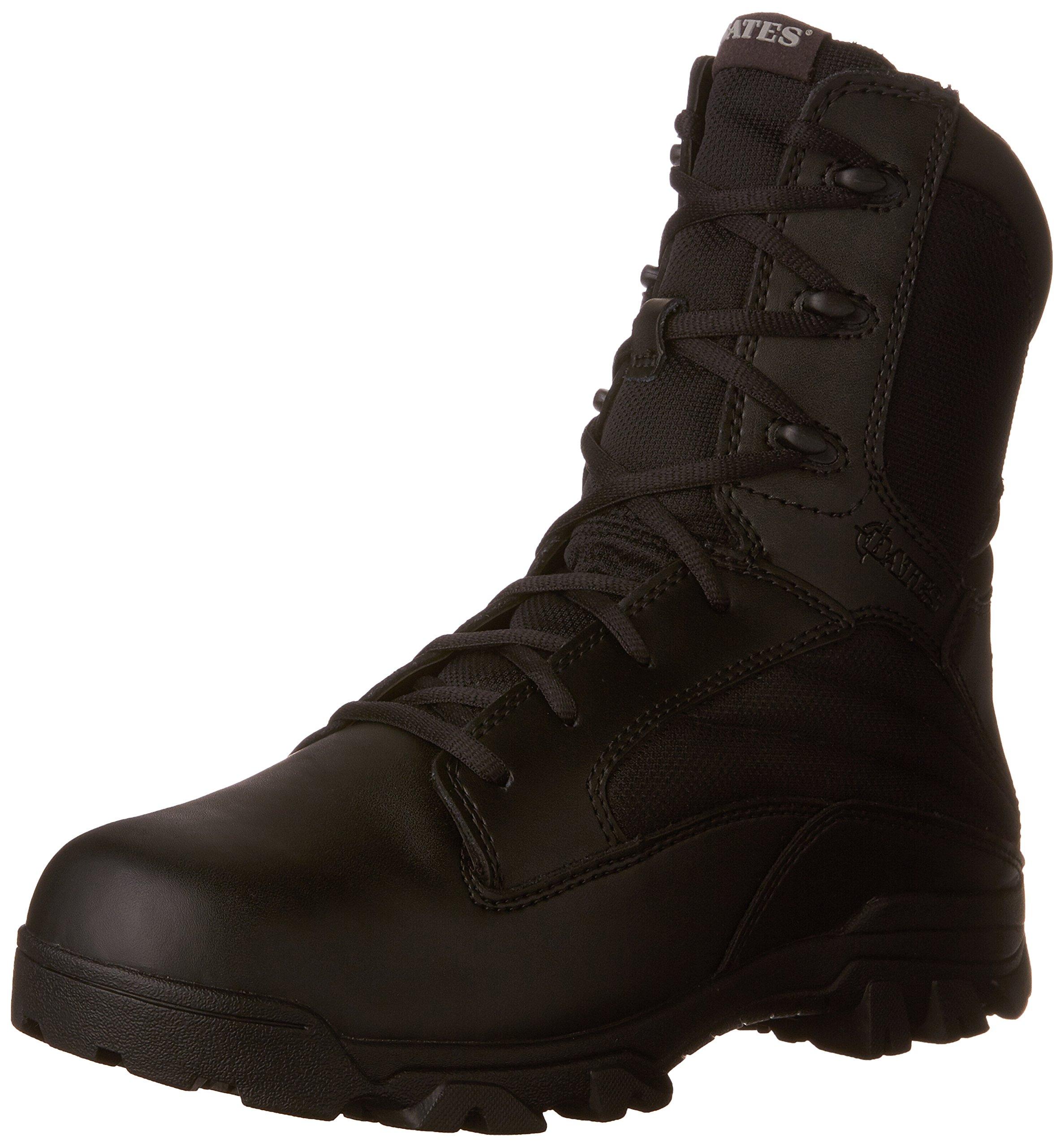 Bates Men's 8 Inch Leather Nylon Side Zip Uniform Boot, Black, 9 M US