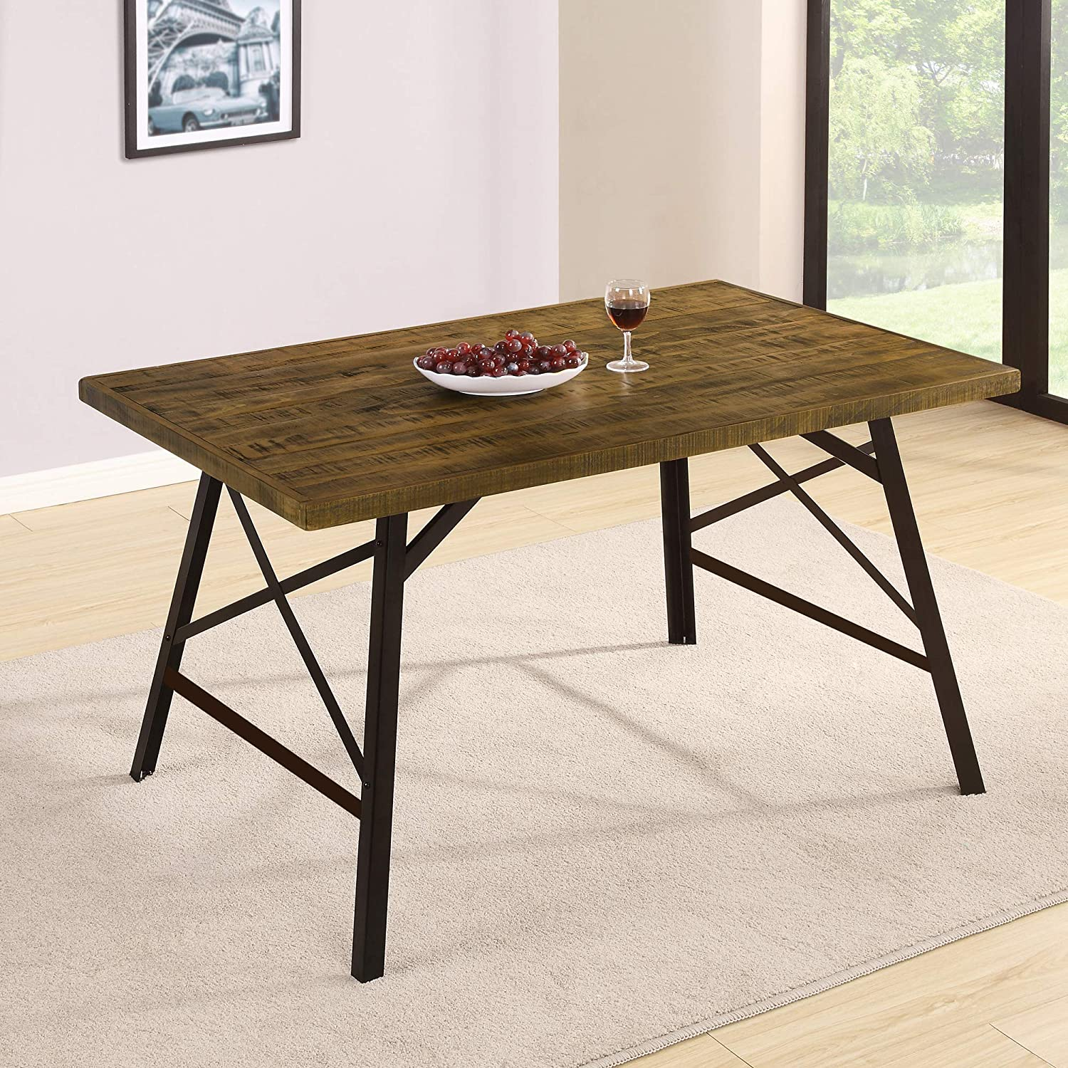 Olee Sleep VC30TB01M Wood and Metal Tall Dining Table, Brown