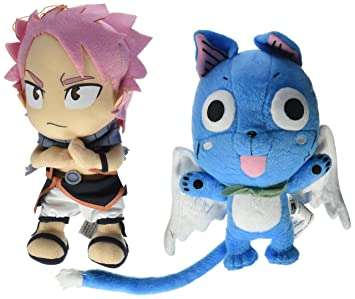 Great Eastern Set de 2 animación oficial Fairy Tail Anime peluche muñeca – Happy & Natsu