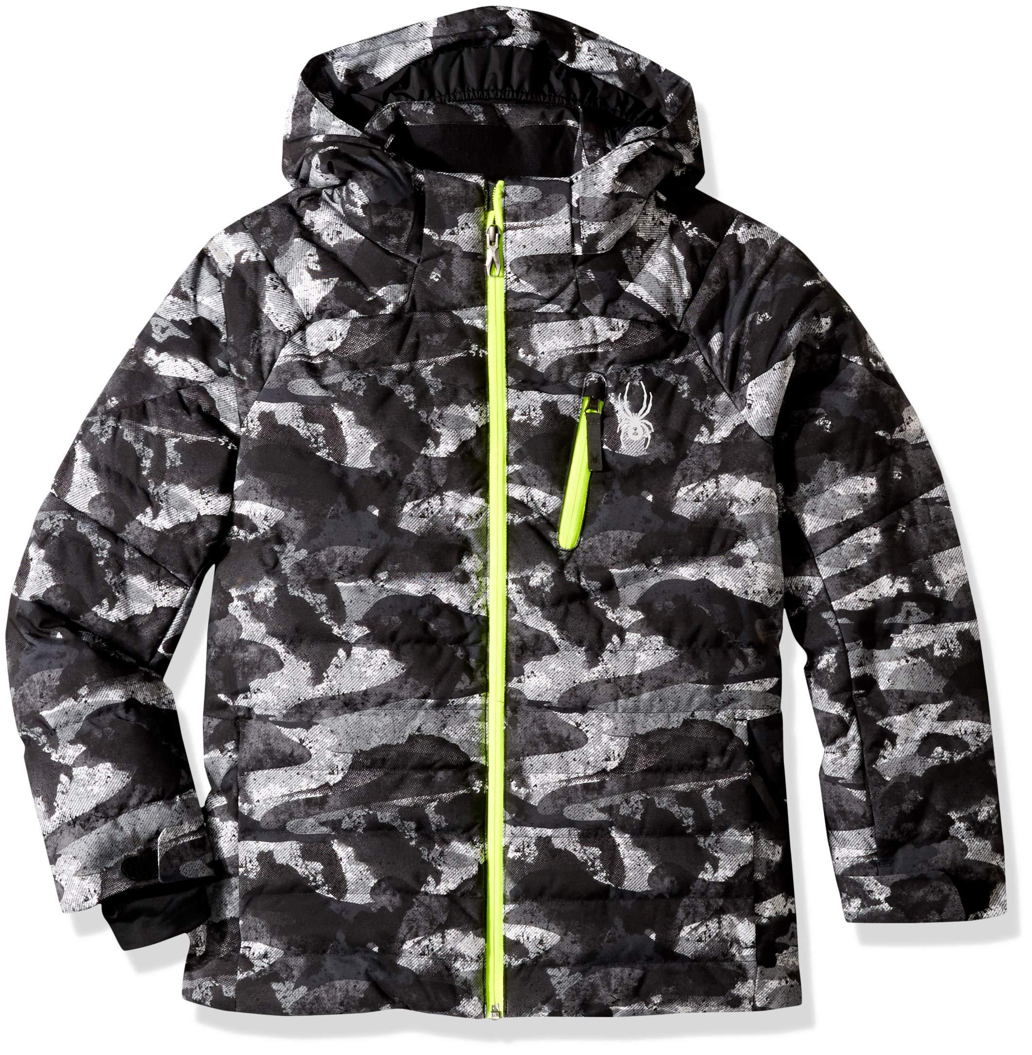 Spyder Boys' Impulse Synthetic Down Ski Jacket, Camo Distress Print/Bryte Yellow, Size 8