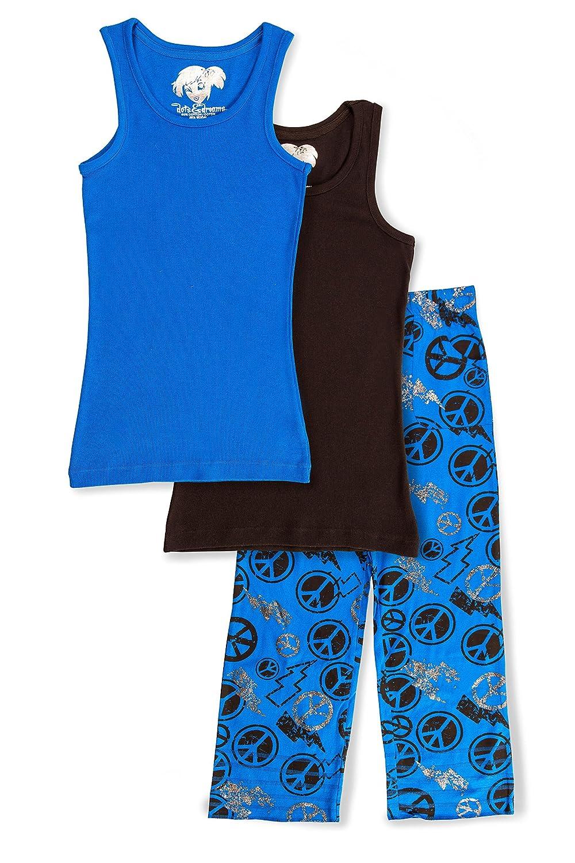 Size 6 Girls Dots /& Dreams 3 Piece Blue /& Black Peace Pajama Set