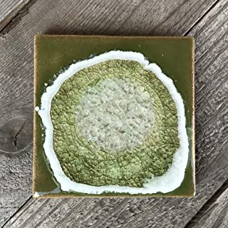 product image for Geode Crackle Coaster in Wasabi, Individual Coaster, Geode Coaster, Agate Coaster, Fused Glass Coaster, Crackle Glass Coaster, Dock 6 Pottery Coaster, Dock 6 Pottery, Kerry Brooks Pottery