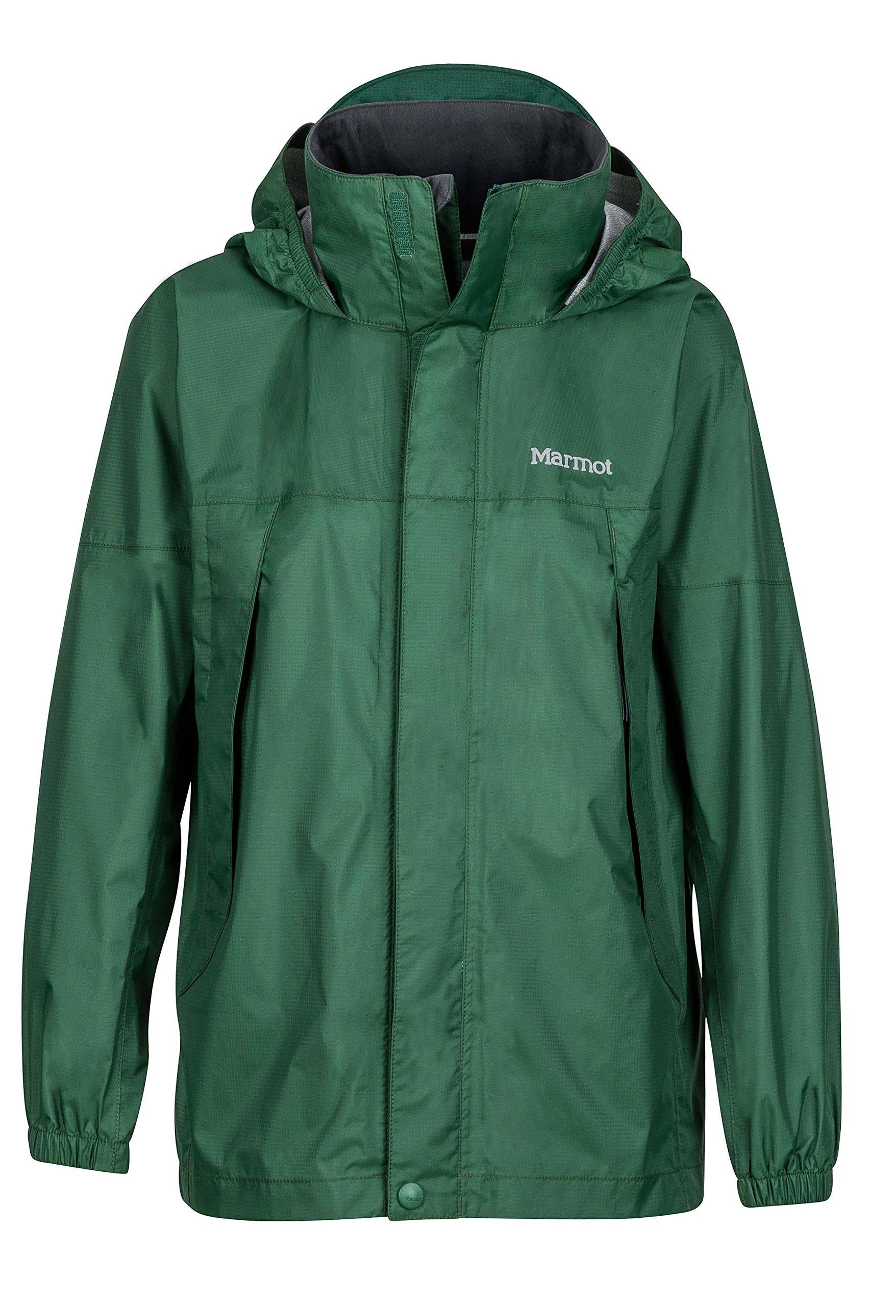 Marmot PreCip Boys' Lightweight Waterproof Rain Jacket, Dark Green, Large by Marmot