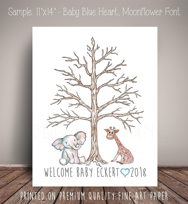 Watercolor Elephant and Giraffe Guest Book Thumbprint Tree, Elephant Baby Shower, Fingerprint Tree, Art Print