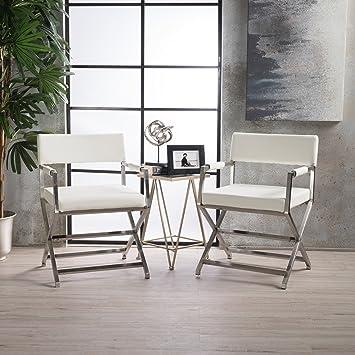 Amazon.com: Vista sillas de moderno brazo de piel (juego de ...