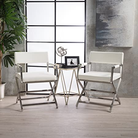 Christopher Knight Home 300932 Vista Leather Modern Arm Chairs Set of 2 White ,