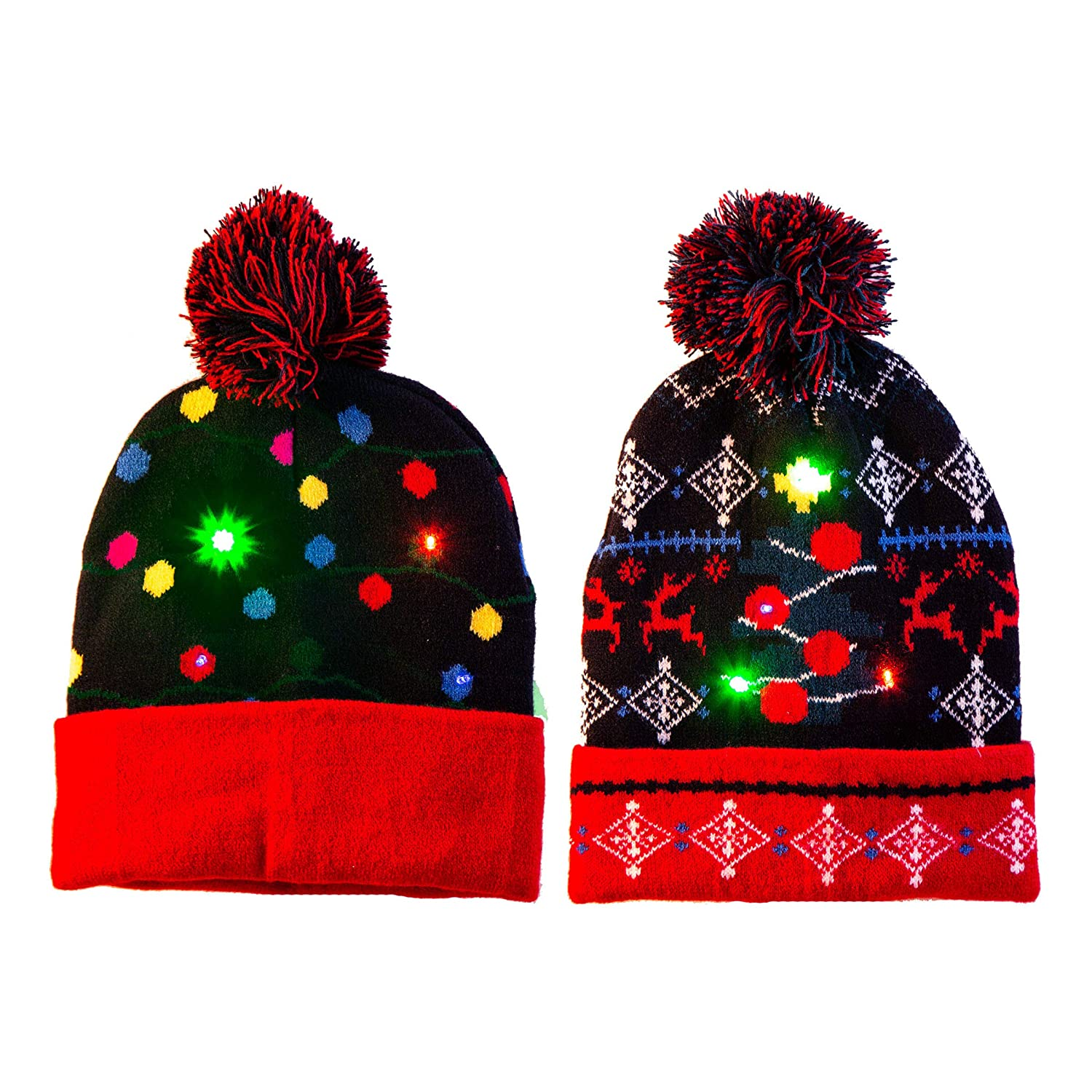 16eea0405c93b Amazon.com  2 Pack LED Light-up Knitted Beanie Ugly Sweater Holiday  Christmas Beanie Hat Knit Cap (Battery Included with 3 Flashing Modes)   Health ...