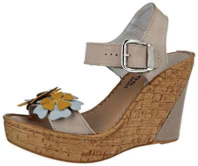 0083583fa4d Ladies Aeros Real Leather Italian Cork Effect Wedge High Heel Flower Peep  Toe Strappy Comfort Summer