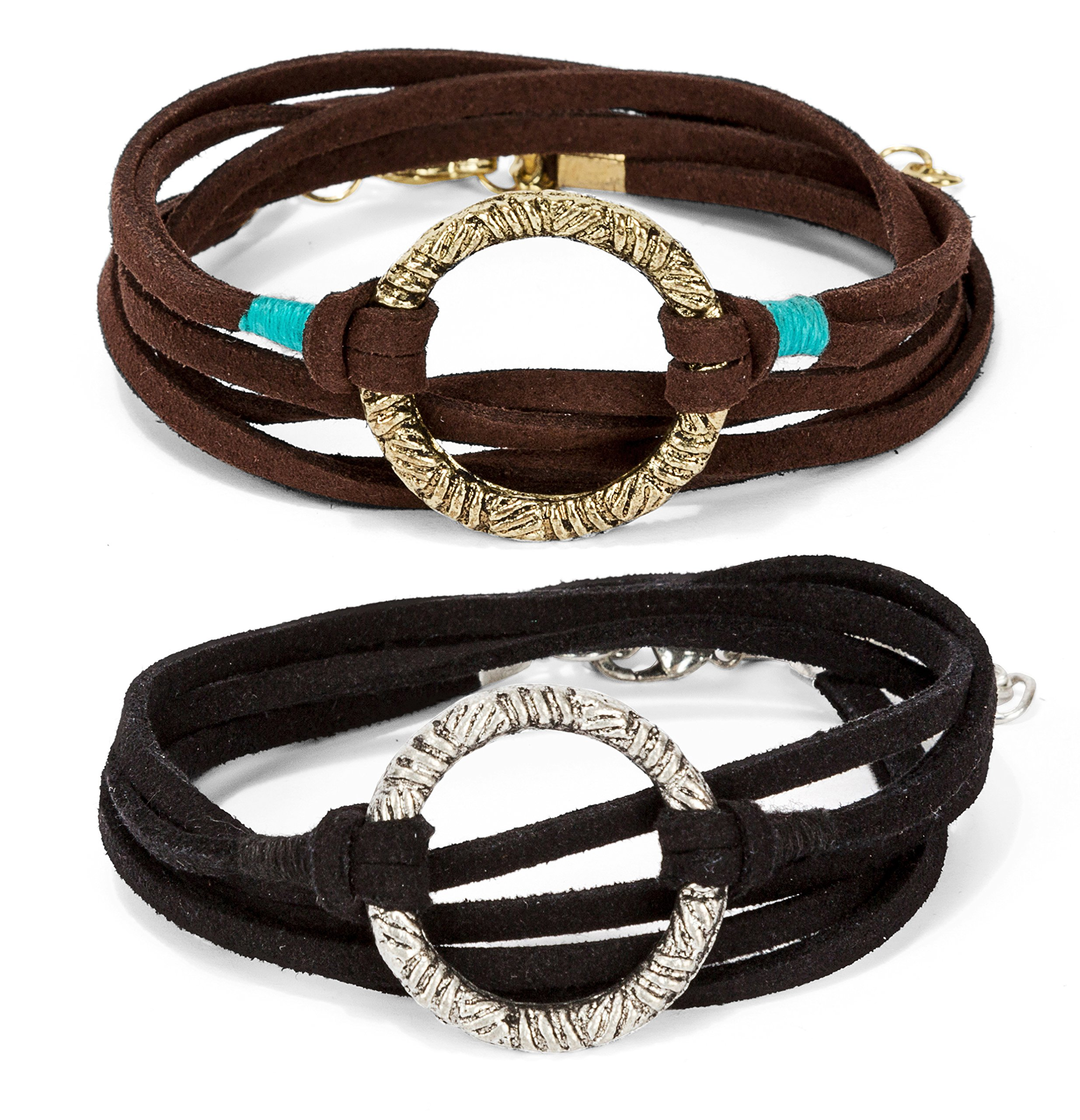 New! 2 Pack: Handmade 3 Wrap Antique Gold/Silver Circle Brown/Black Suede with Teal Accent Leather Bracelet with Adjustment Chain | SPUNKYsoul Collection by SPUNKYsoul