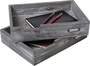 Set of 2 Ash Gray Wood Office Desktop Document Trays, Decorative Multipurpose File Organizer