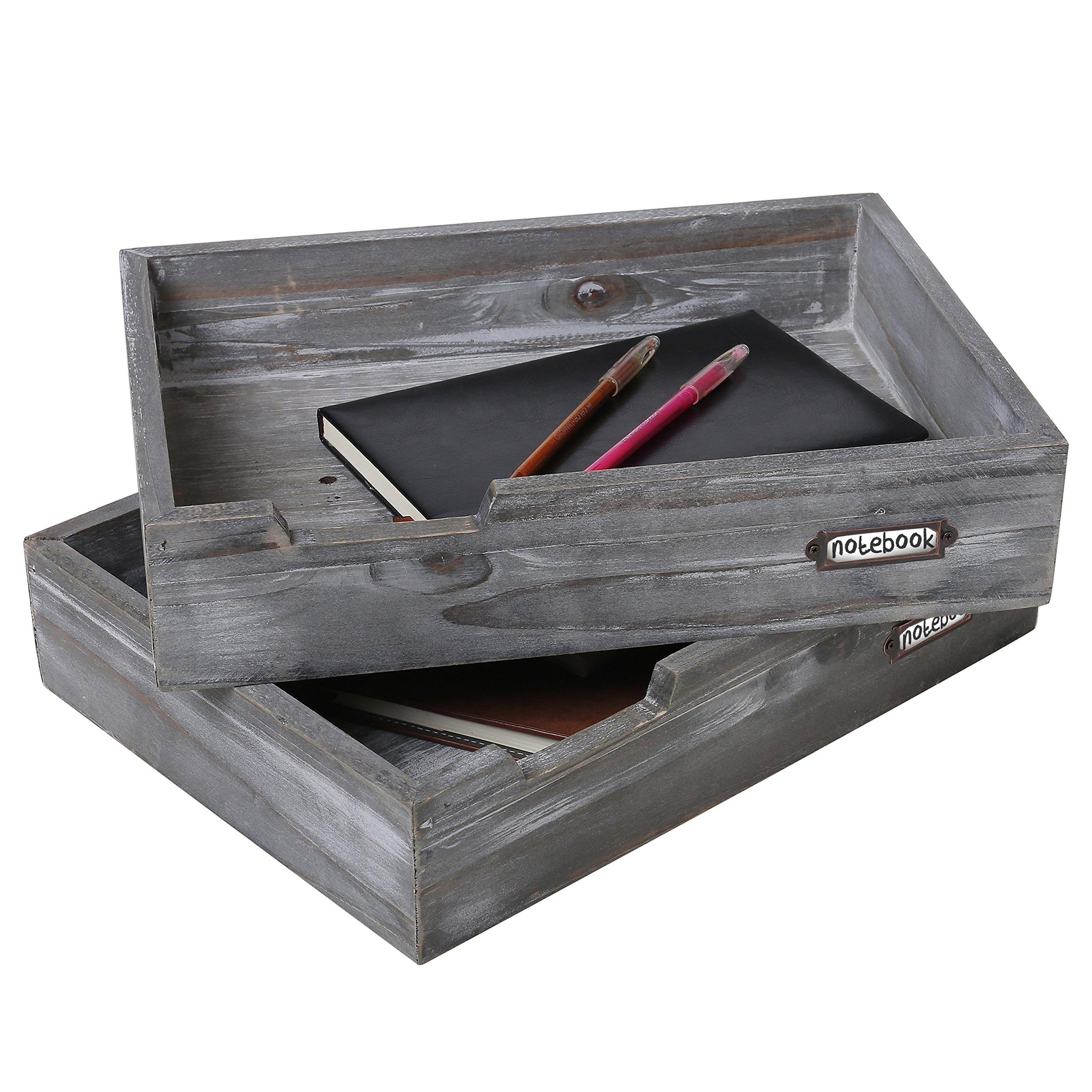 Set of 2 Ash Gray Wood Office Desktop Document Trays, Decorative Multipurpose File Organizer